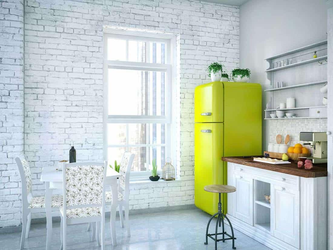 Bright apartment loft kitchen interior
