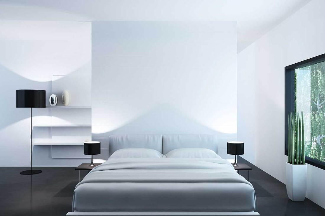Bright luxury minimalist bedroom