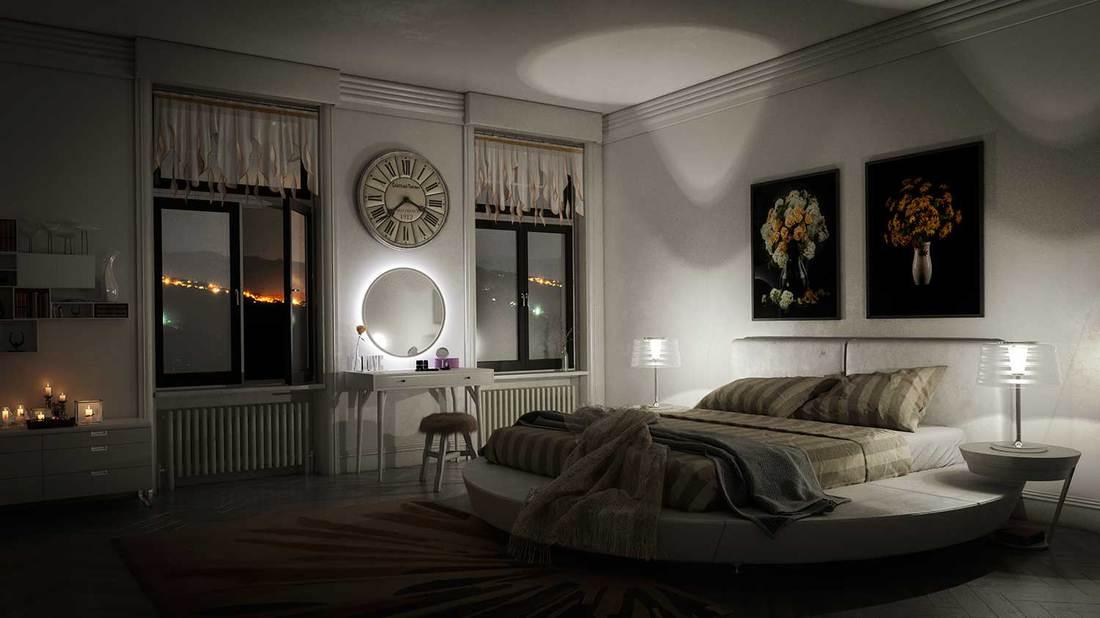 Classy modern minimalist bedroom at night
