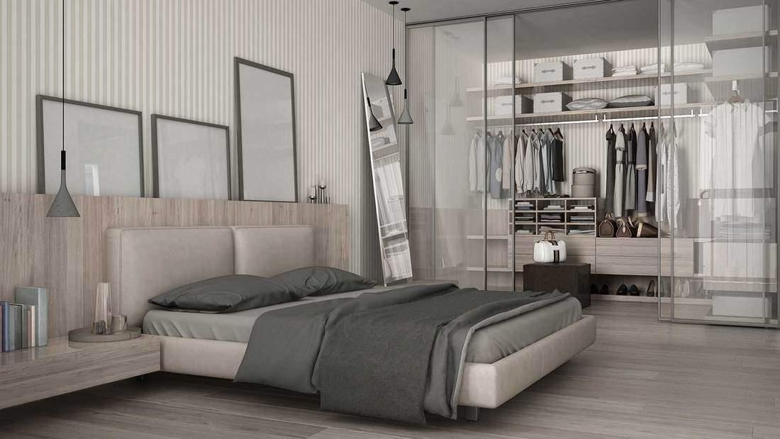 Classy modern minimalist bedroom with walk-in closet