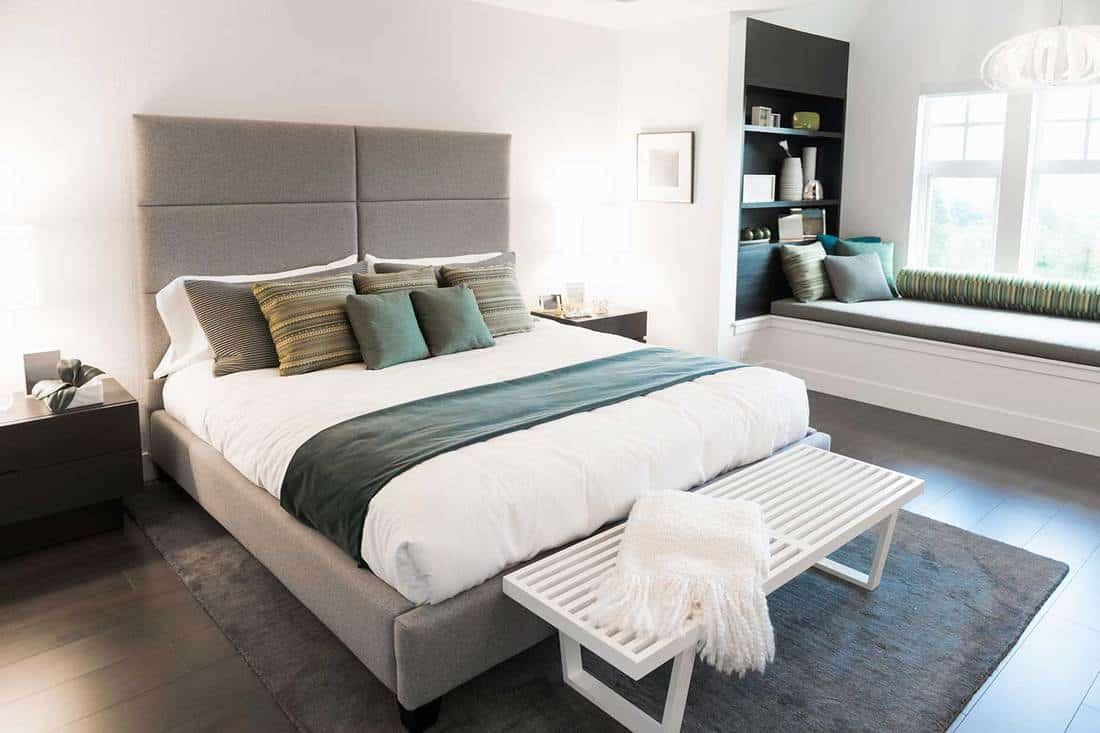 Contemporary bedroom with parquet flooring