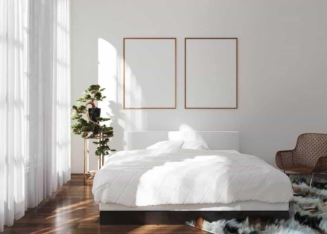 Cozy bright scandinavian minimalist bedroom