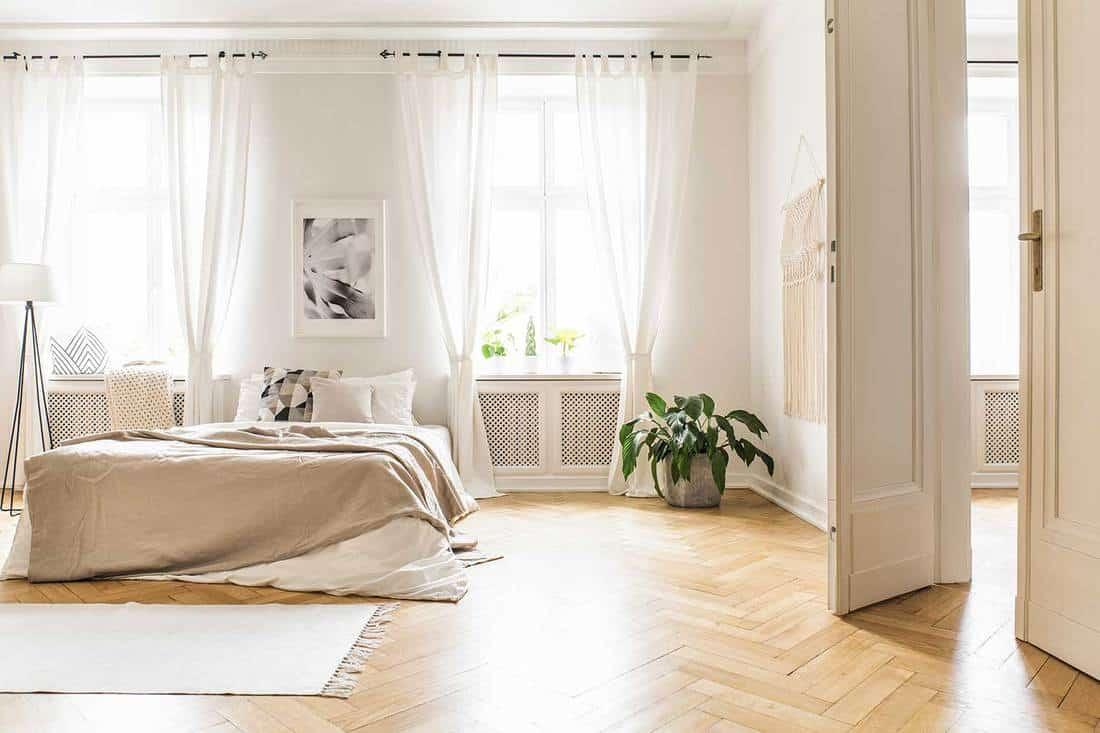 Cozy spacious scandi-boho minimalist bedroom