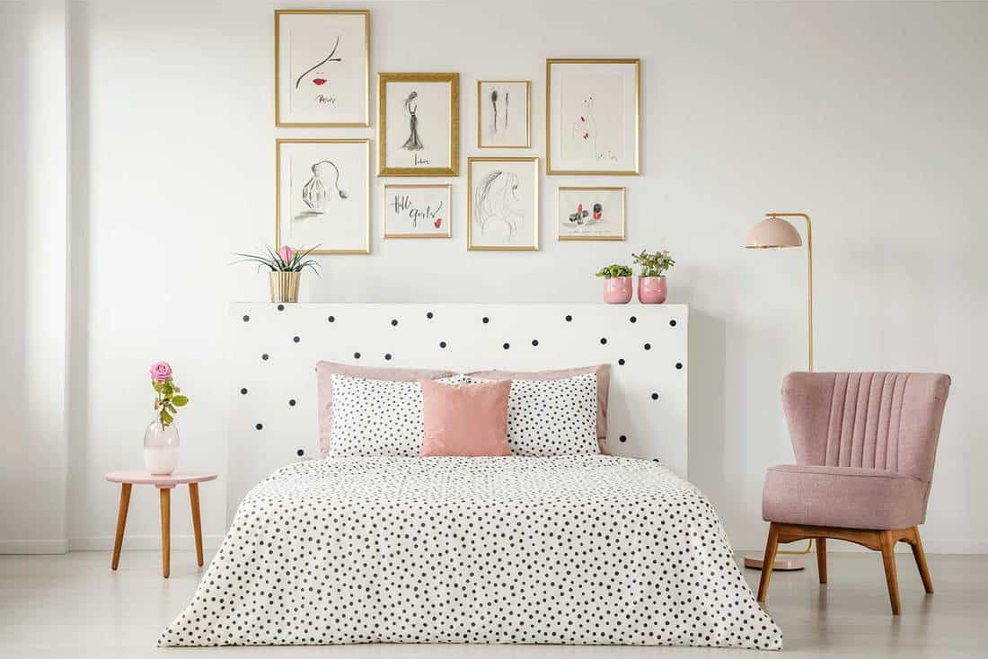 Feminine minimalist bedroom interior