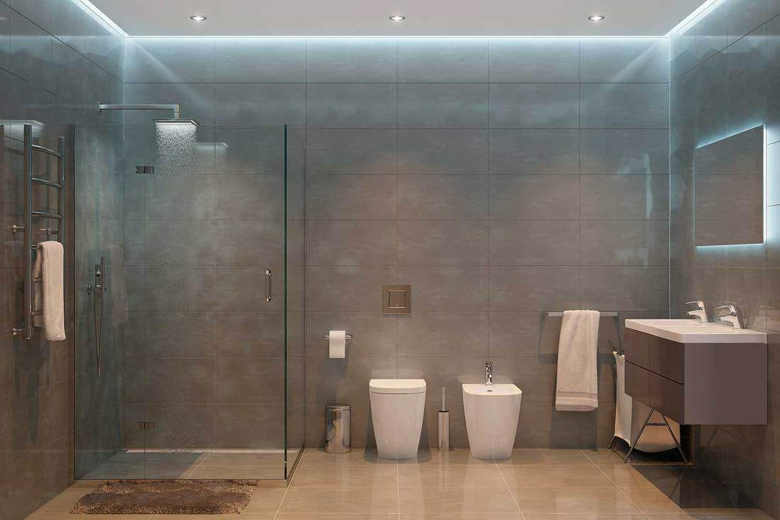 Grey modern shower room with tiled walls