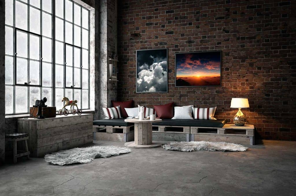 Industrial style domestic living room with wooden interior