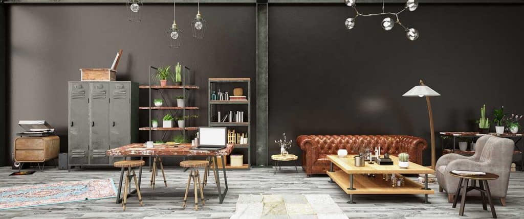 Industrial style loft apartment living room with black painted wall