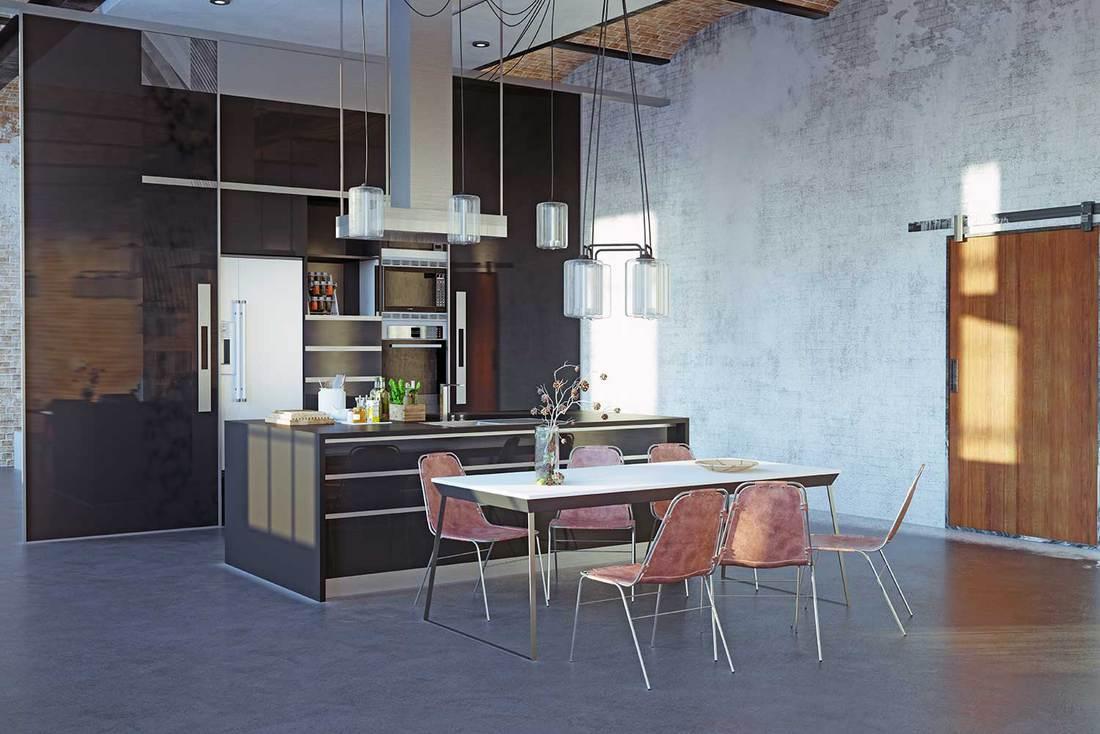 Industrial style loft kitchen with modern interior