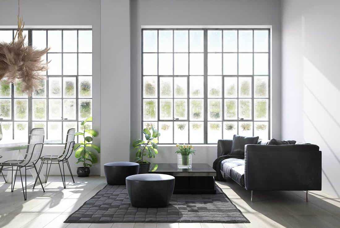 Industrial style loft living room with modern interior