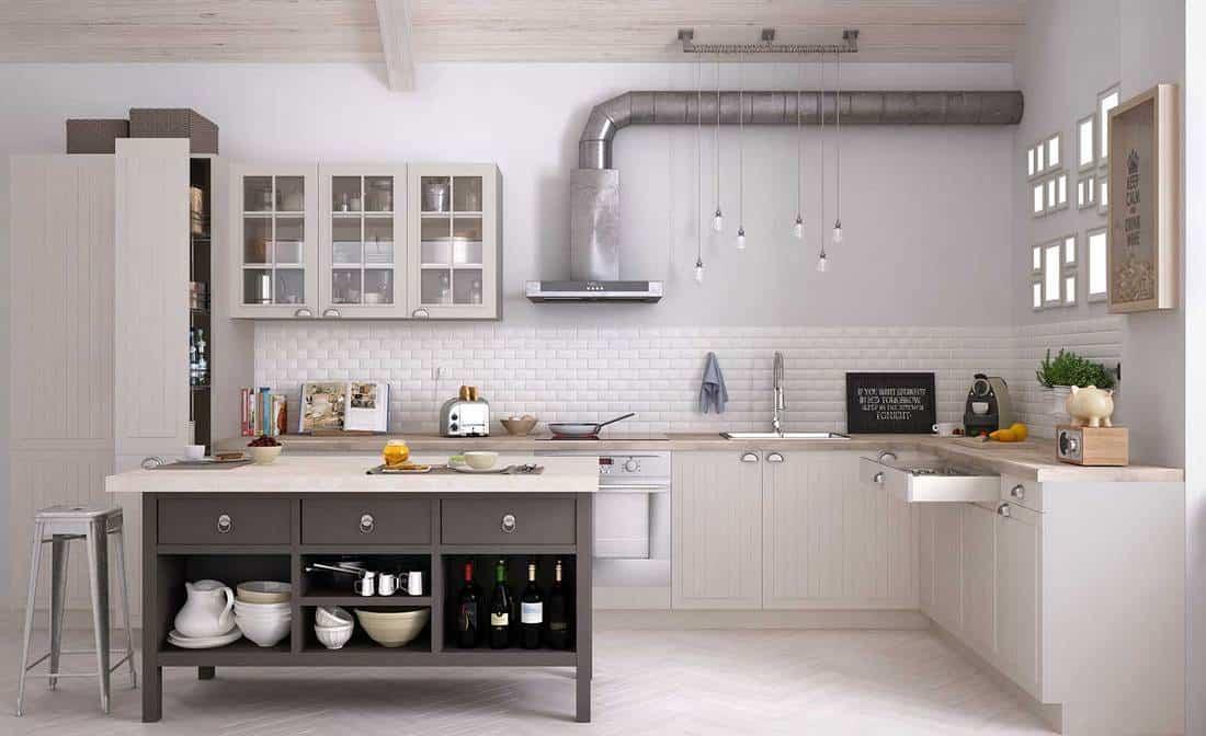 Industrial style scandinavian kitchen interior