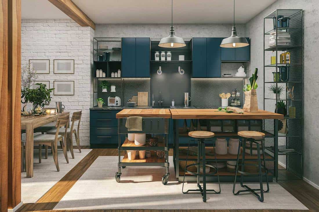 Kitchen and dining room in a industrial style home