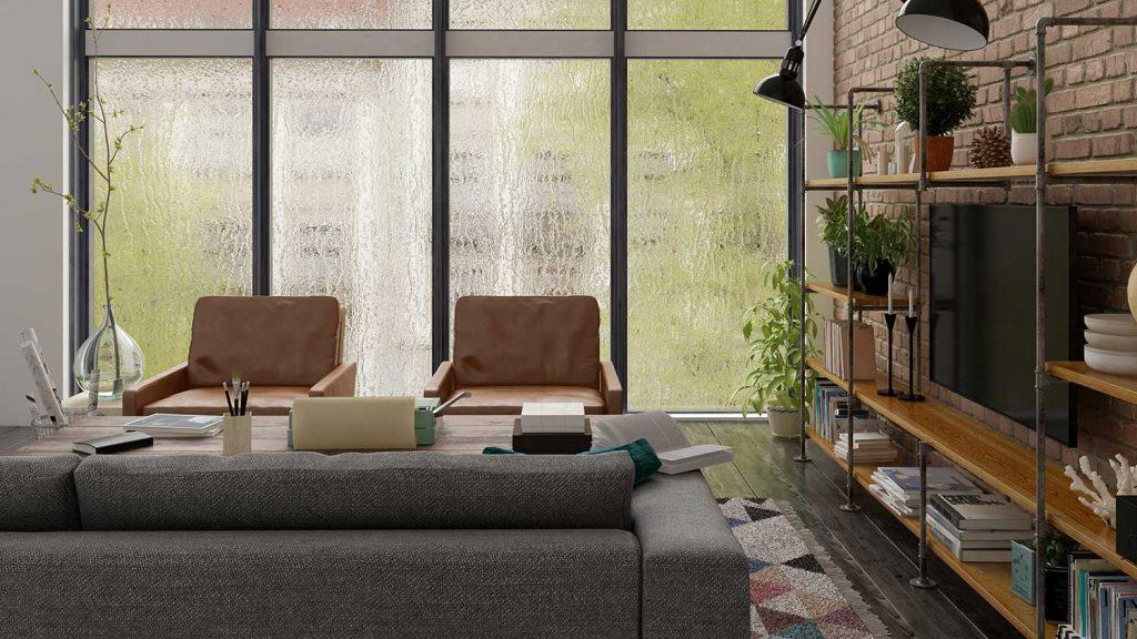 Loft industrial style living room interior design
