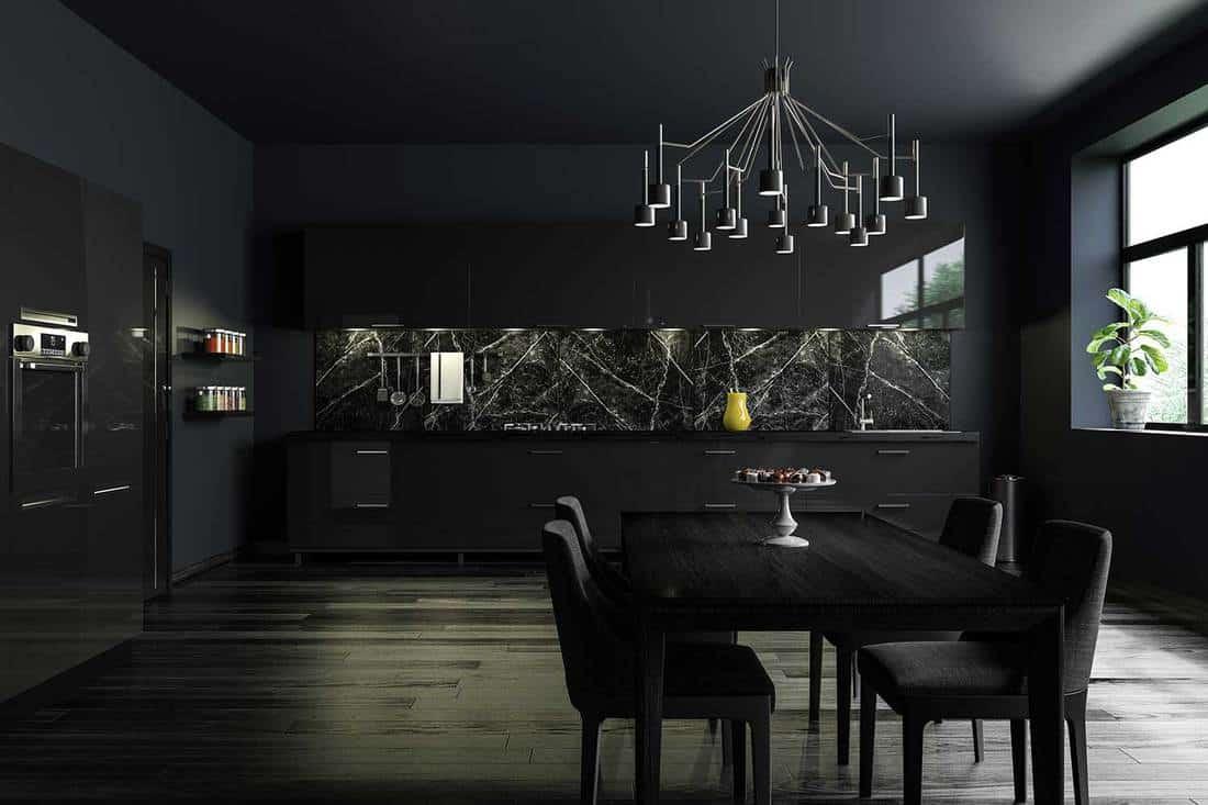Luxury black modern kitchen interior