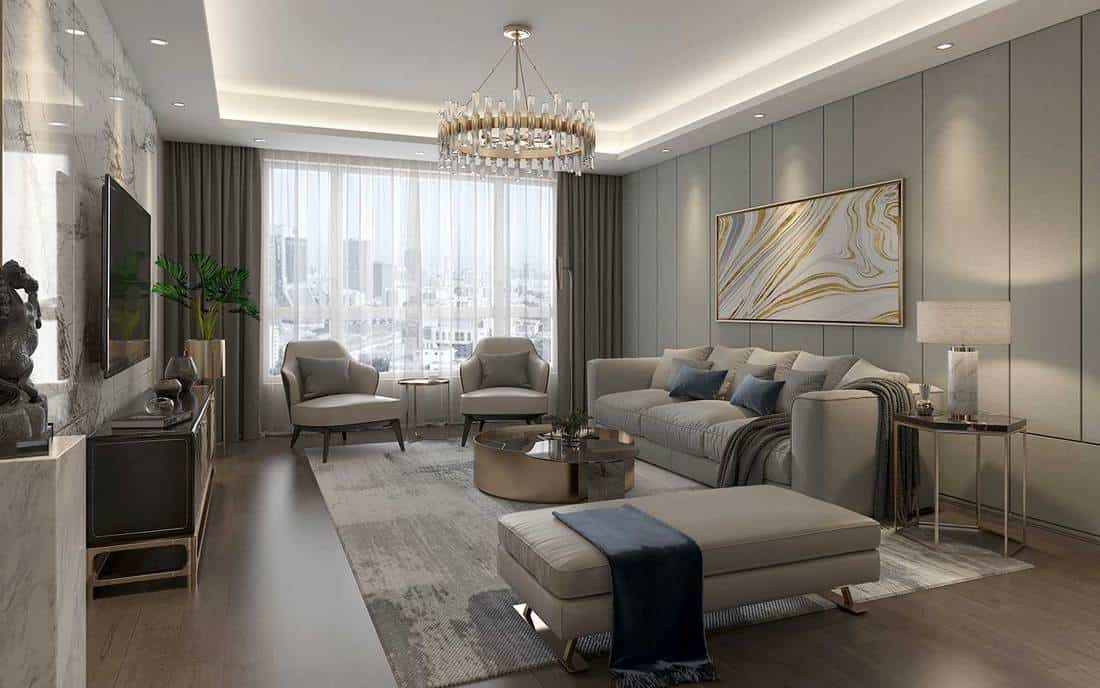 Luxury hotel living room with city view glass window