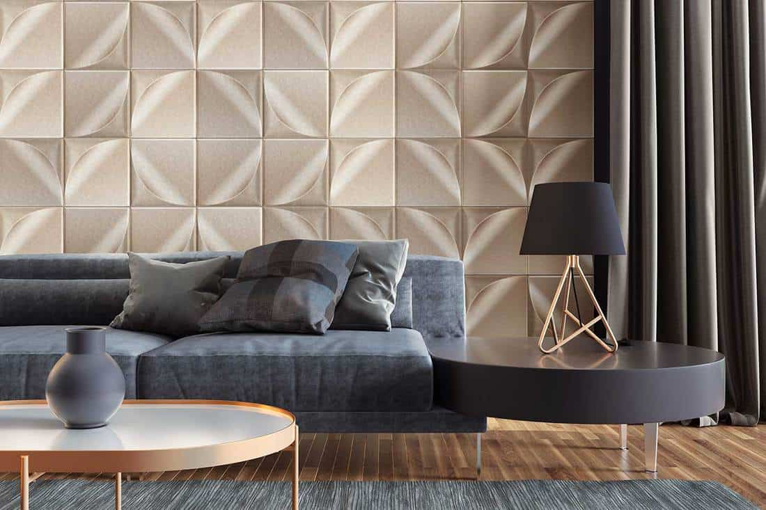 Luxury living room with gold wall and tiles