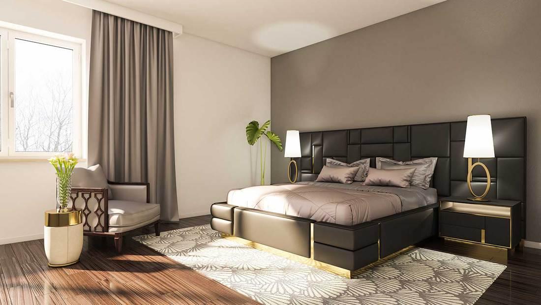Luxury minimalist bedroom with parquet flooring
