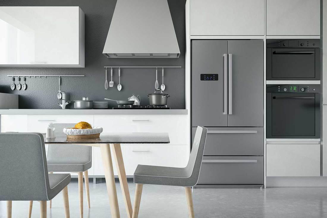 Luxury modern grey kitchen interior