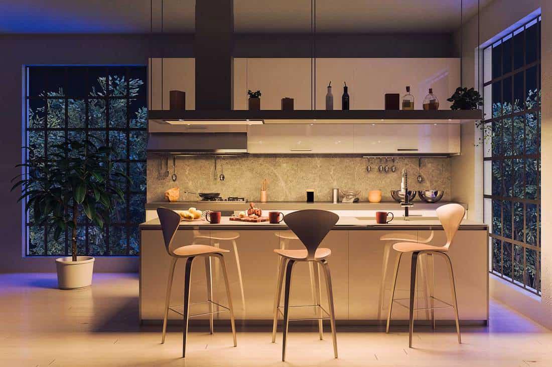 Luxury modern kitchen with island at night