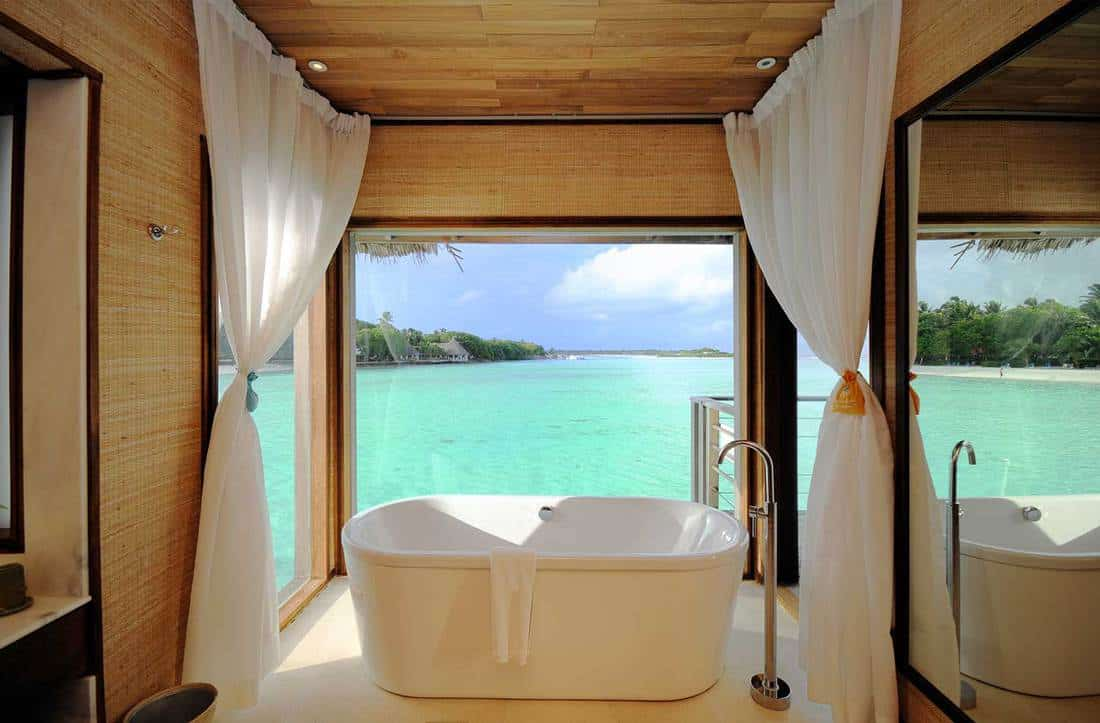 Luxury villa bathroom with sea view