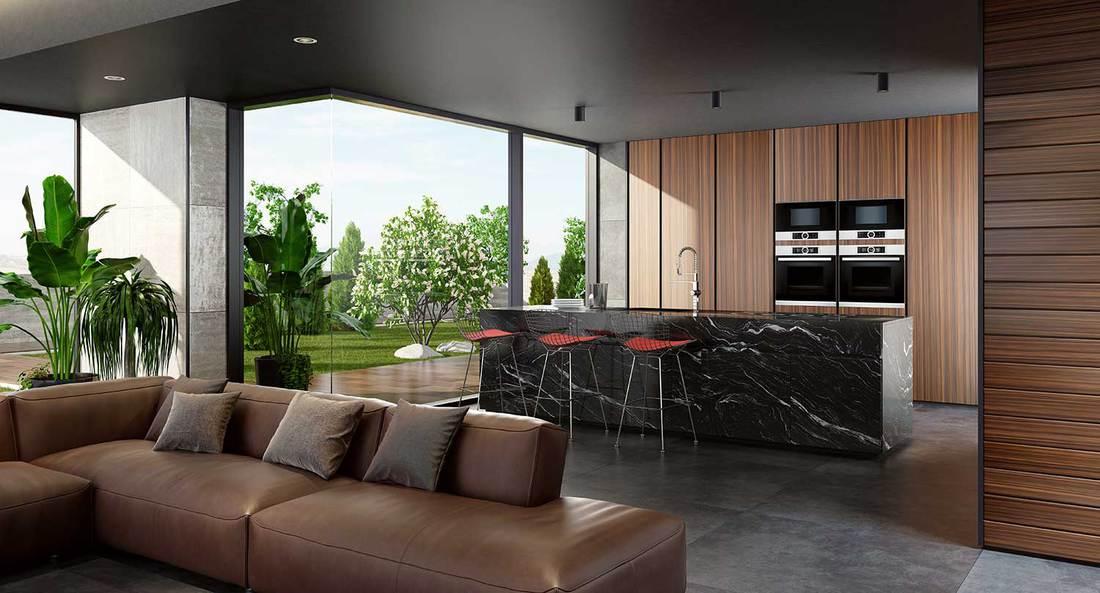 Minimalist home interior with modern kitchen and open garden