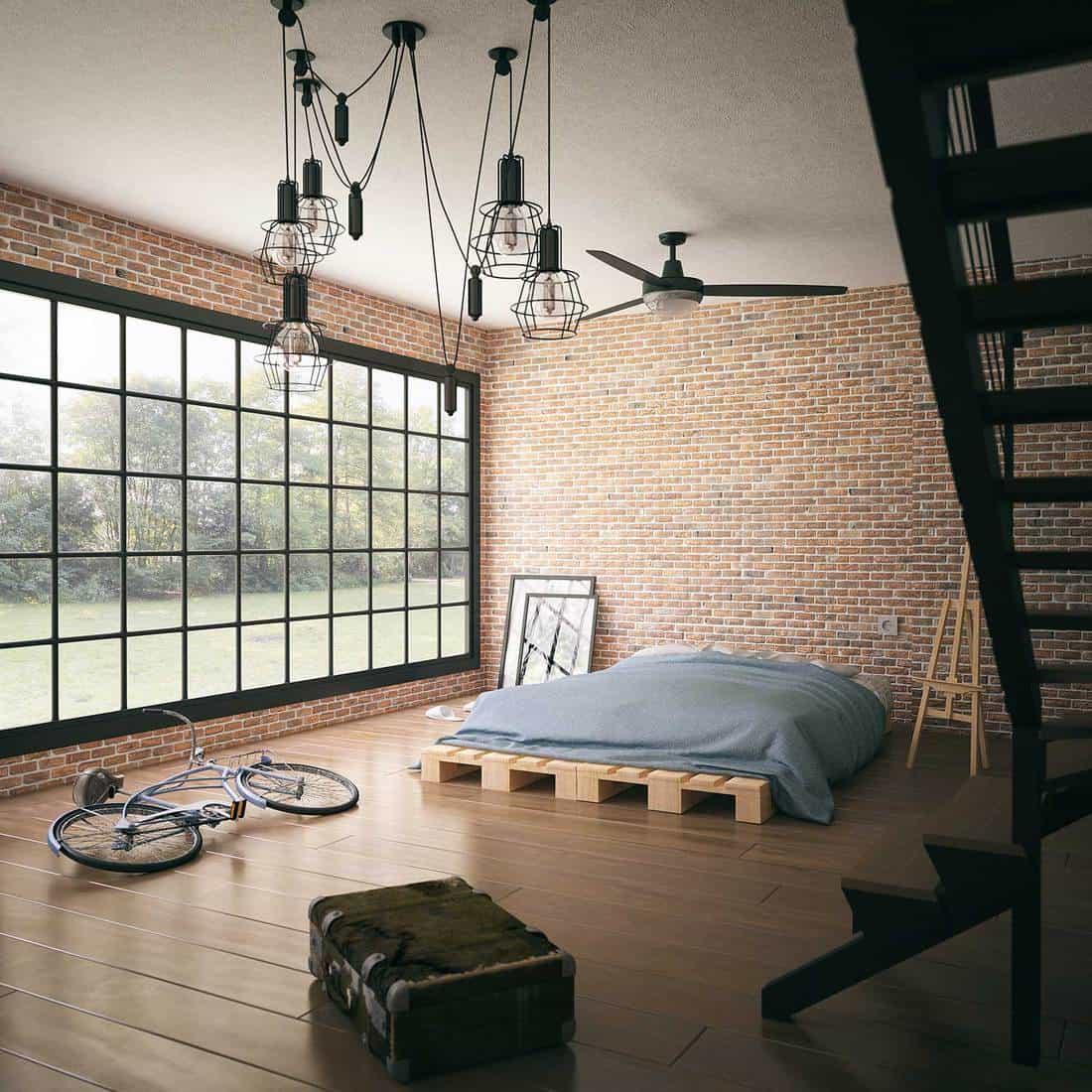 Minimalist industrial loft style bedroom