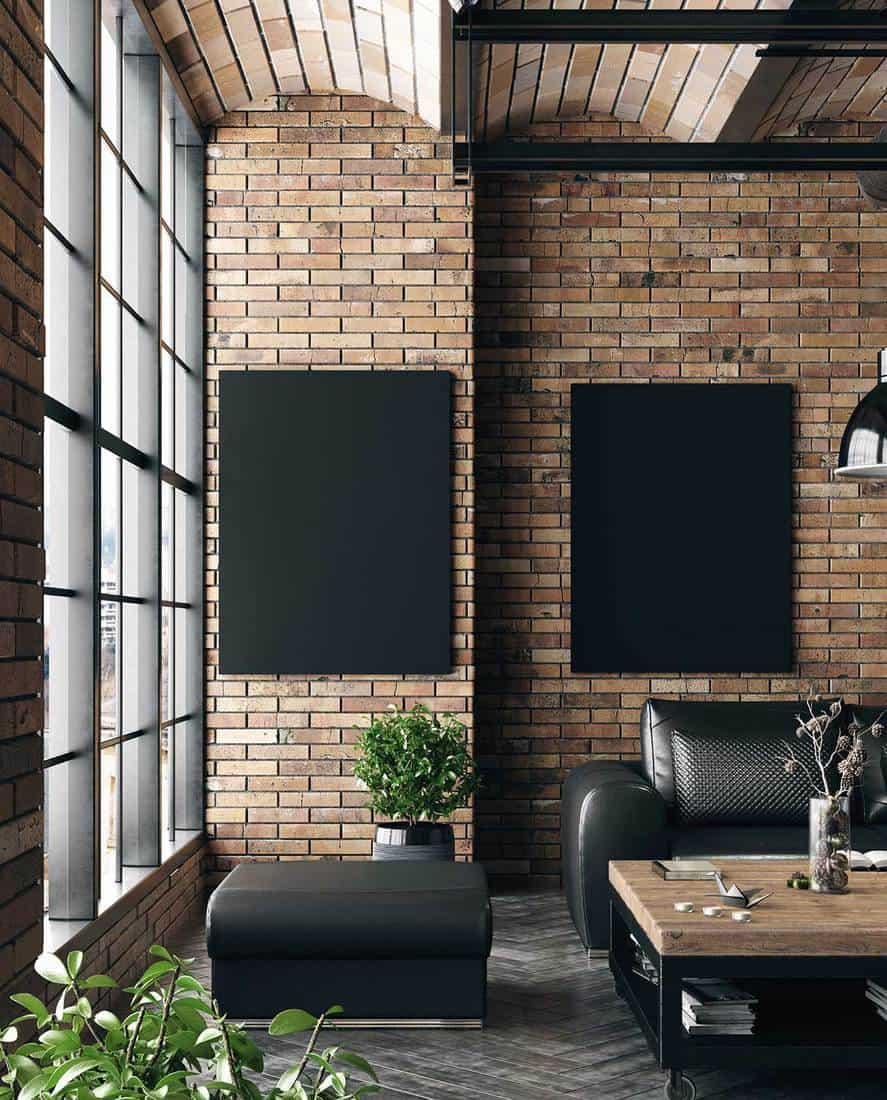 Mock up poster in living room loft in industrial style