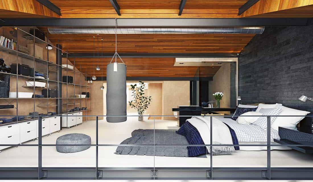 Modern bachelor loft apartment bedroom interior