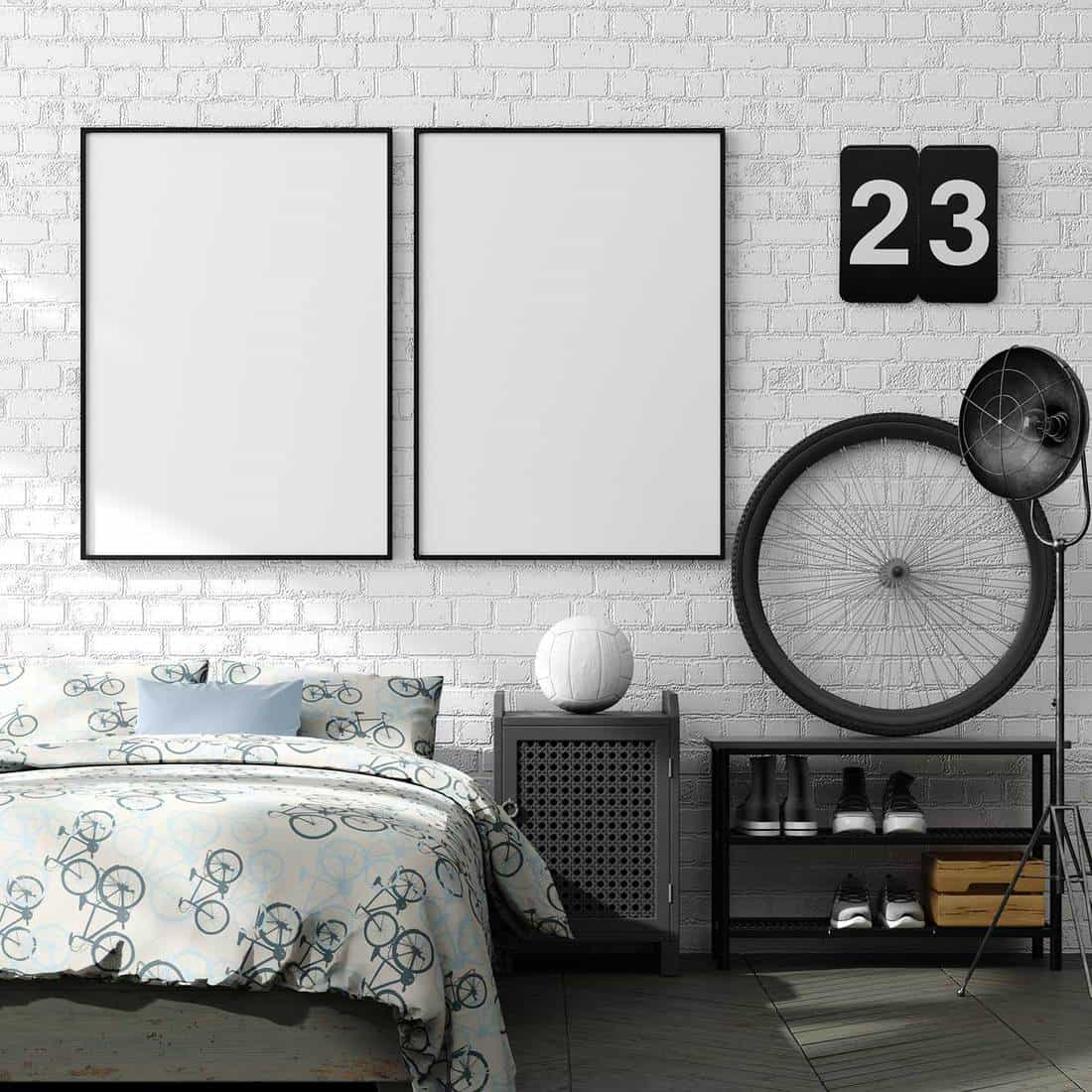 Modern bedroom with brick wall and blank poster