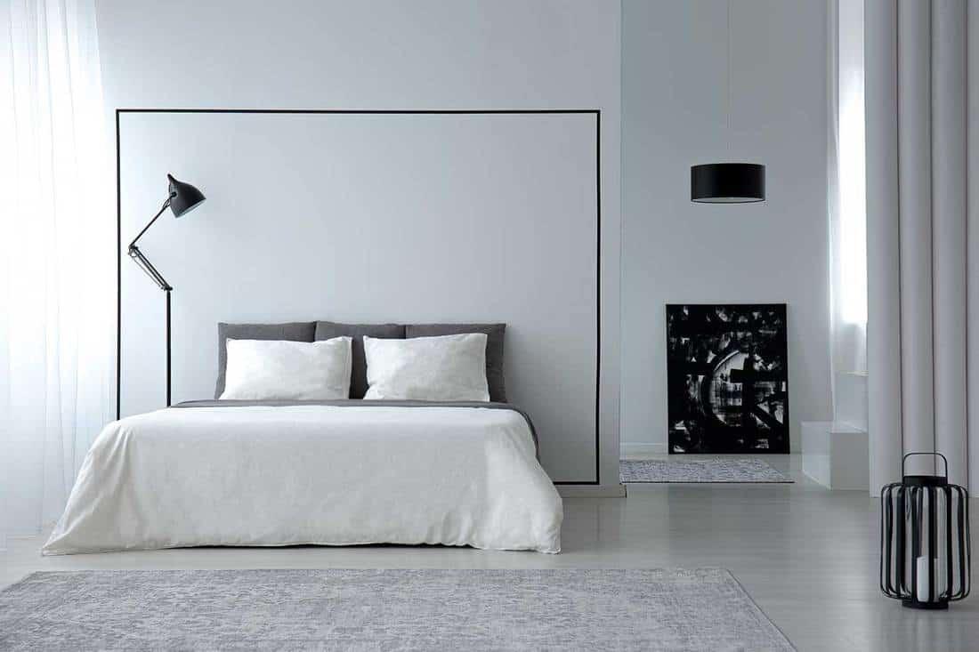 Modern black and white minimalist bedroom