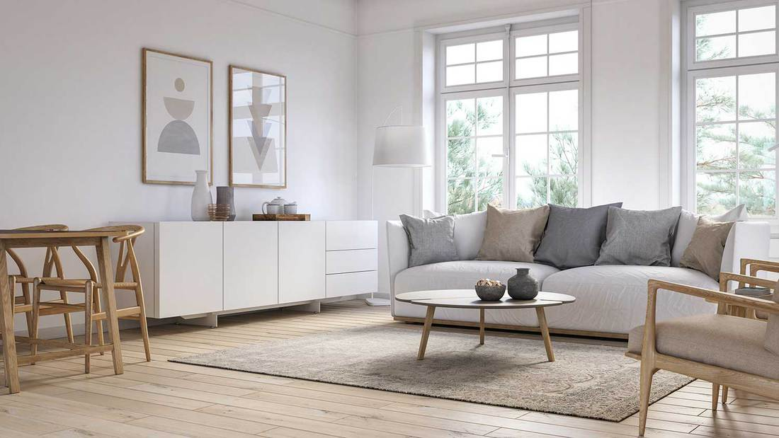 Modern bright and cozy scandinavian living room with parquet flooring