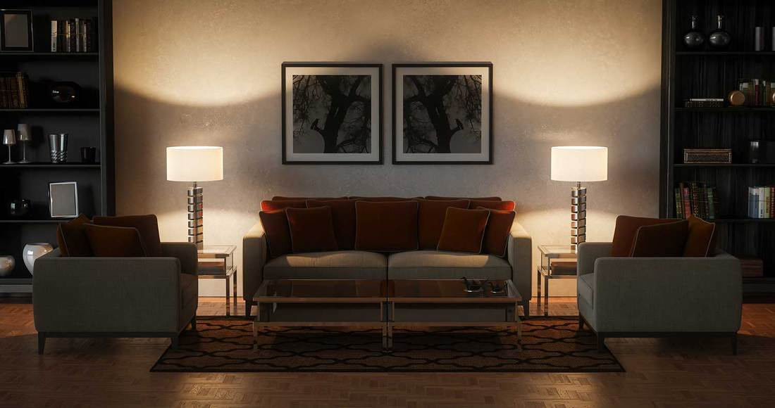 Modern classy living room at night