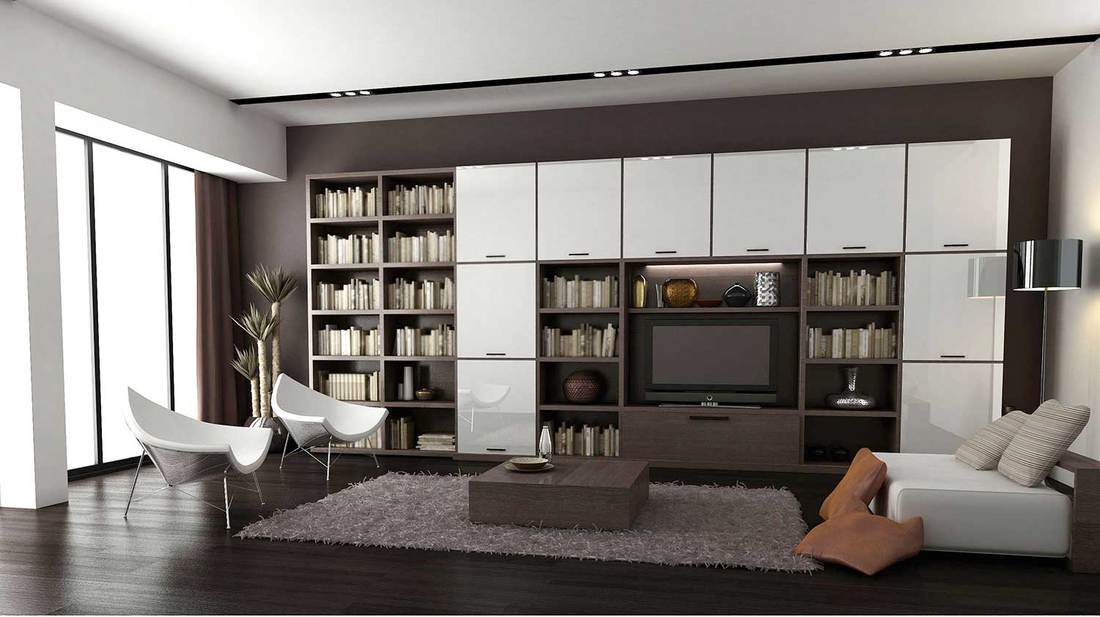 Modern cookies and cream colored minimalist living room interior