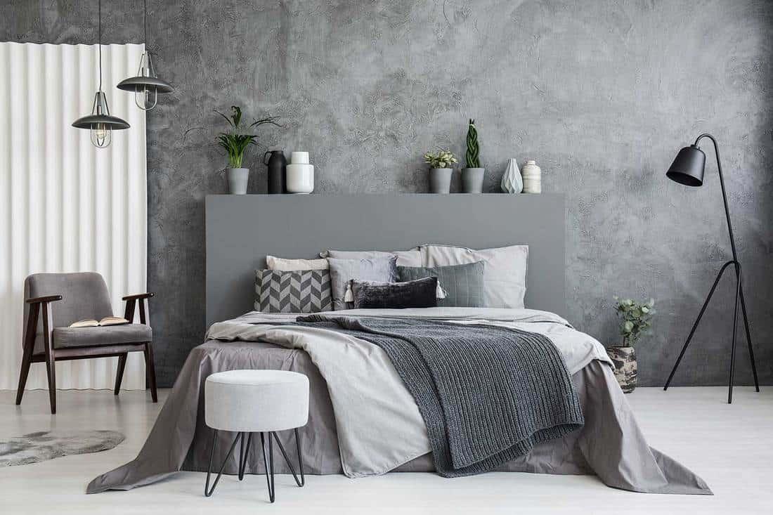Modern grey themed bedroom