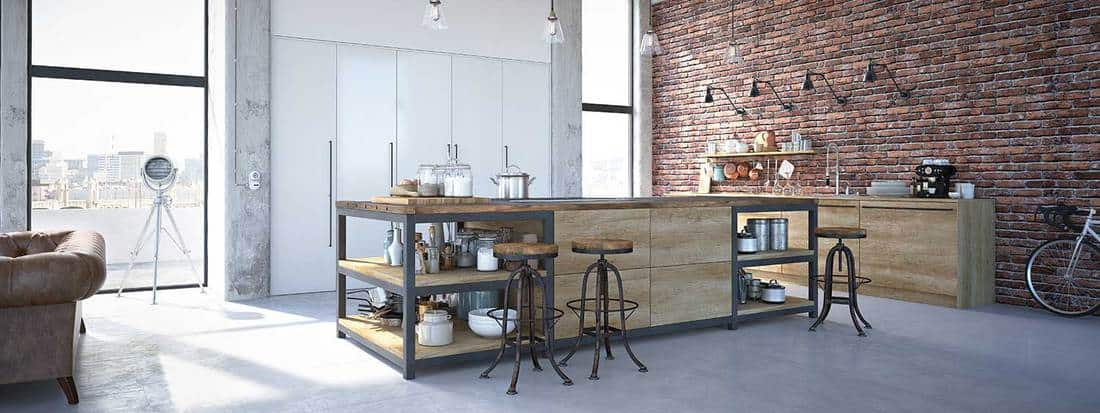 Modern industrial style kitchen in a loft apartment