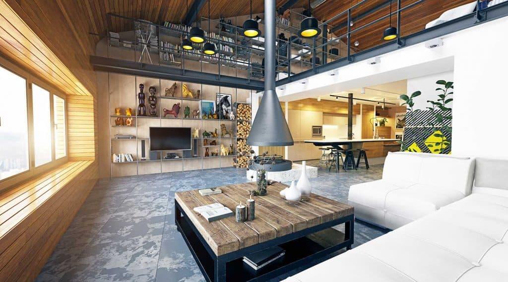 Modern industrial style loft apartment interior