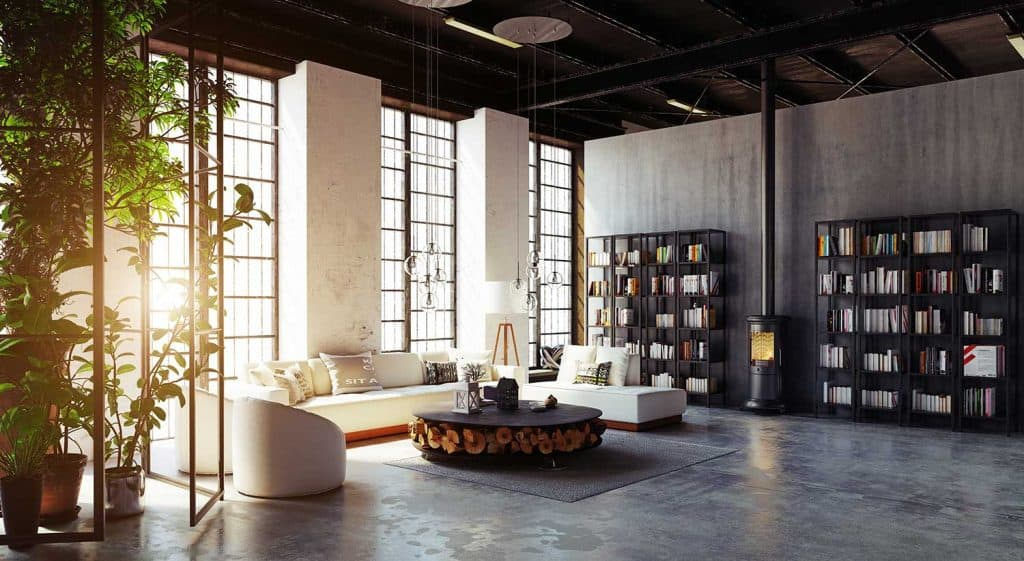 Modern industrial style loft living room with house plants