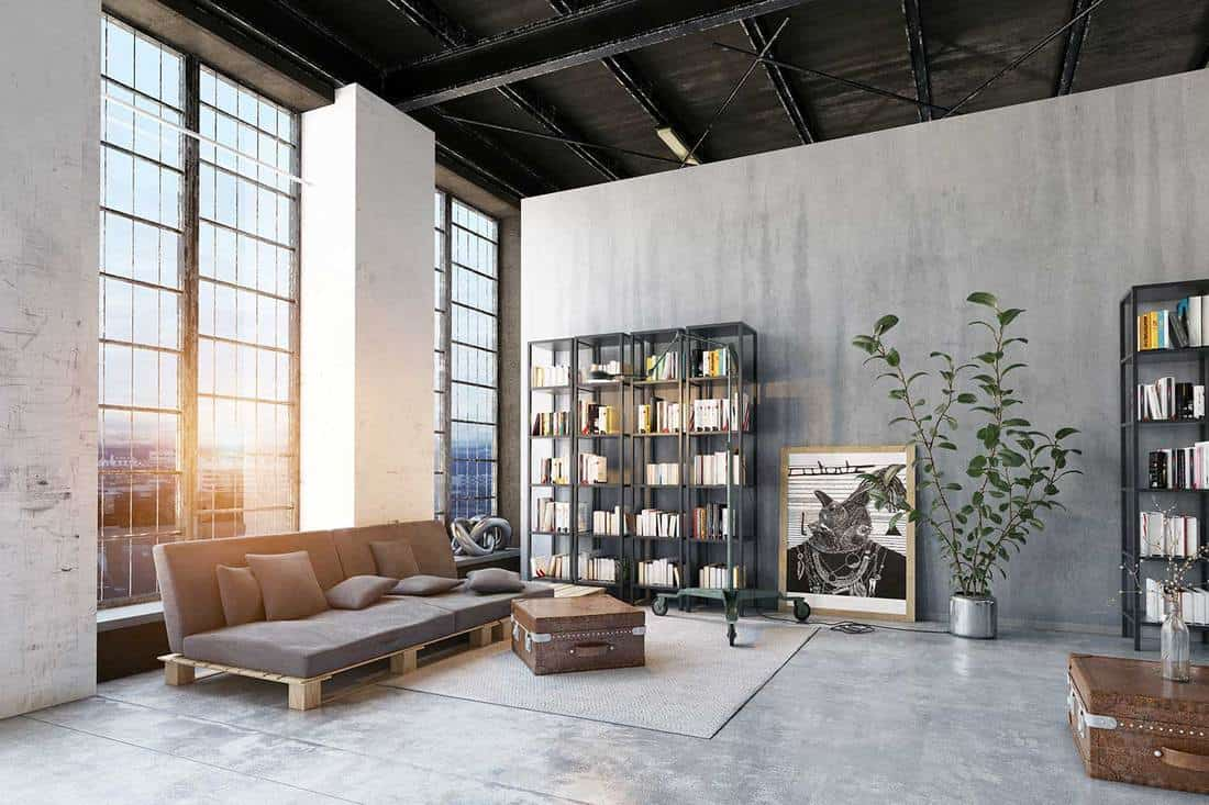 Modern industrial style loft living room with overview of the city