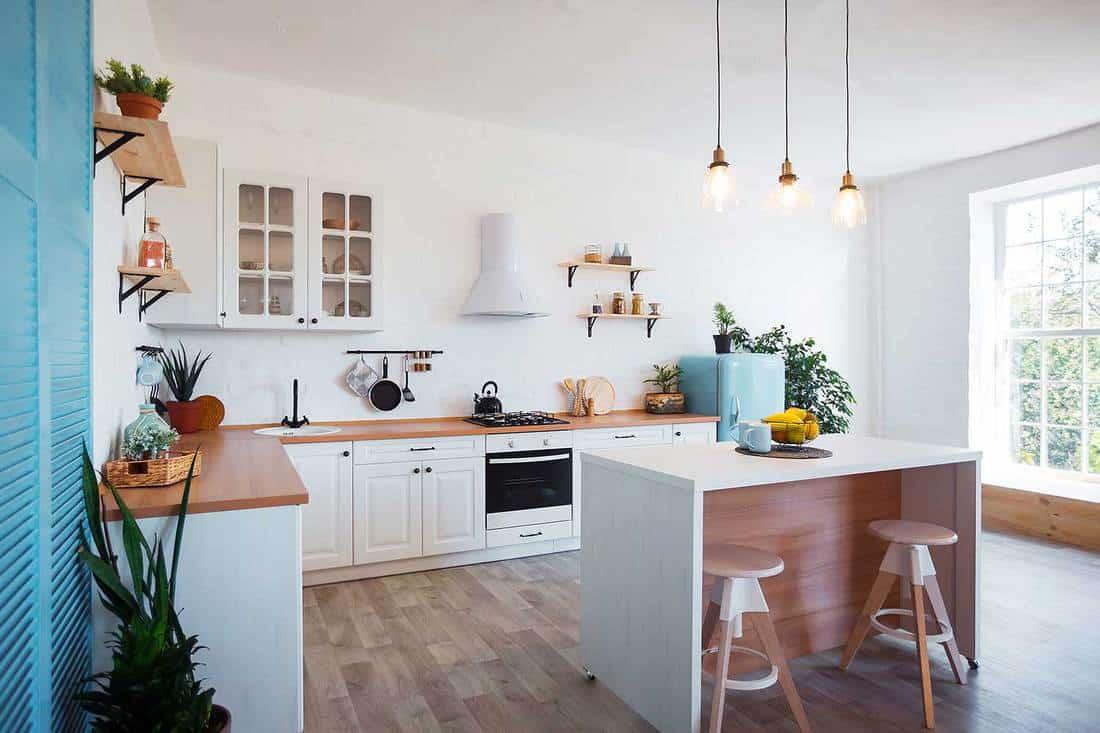 Modern kitchen interior with island and hardwood floors