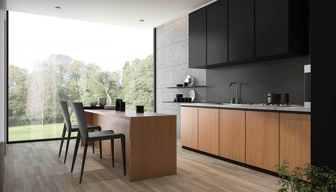 Modern kitchen with wood interior and parquet flooring