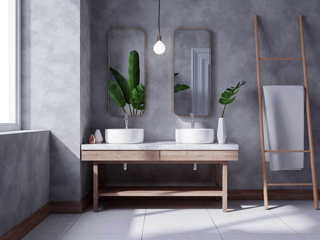Modern loft bathroom interior design, white basin on wooden shelf with polished concrete wall