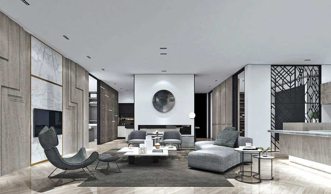 Modern luxury living room with grey sofa and chairs