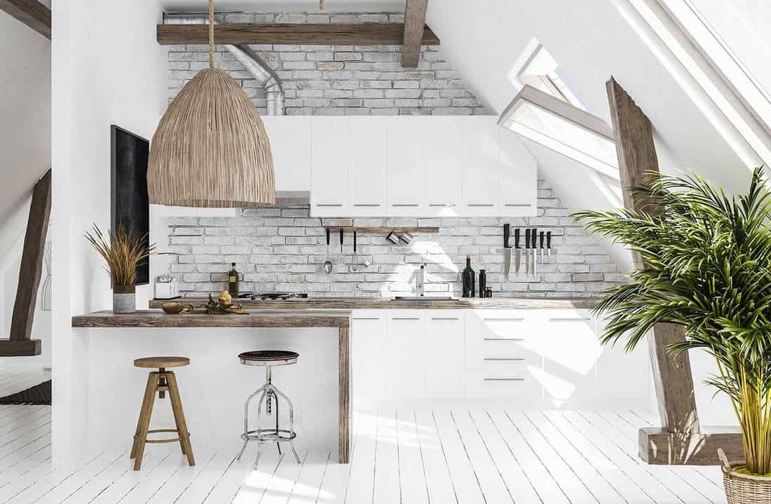 Modern scandi-boho style kitchen in attic