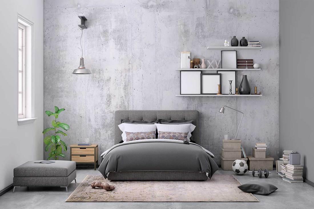 Modern scandinavian grey themed bedroom interior