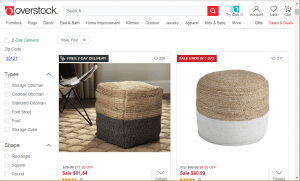 Poufs and Ottomans on overstock's page.