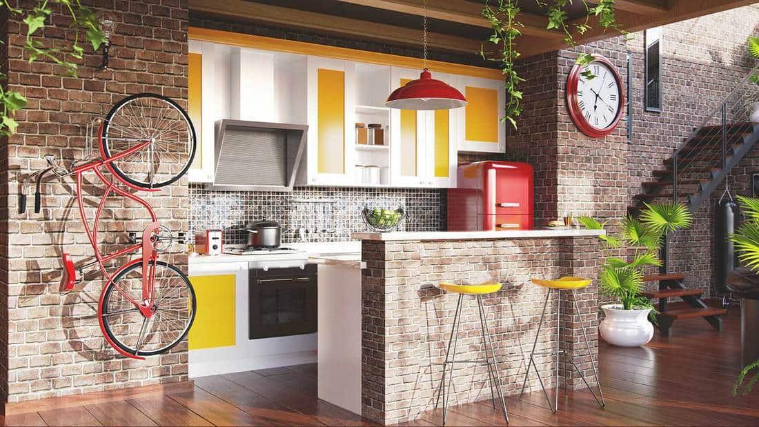 Retro apartment loft kitchen interior