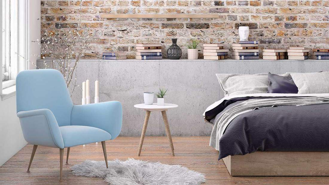 Scandinavian bedroom interior with parquet flooring
