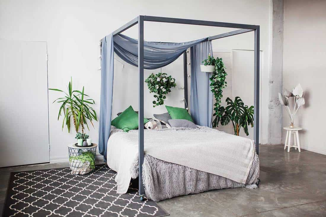 Tropical themed bedroom with house plants