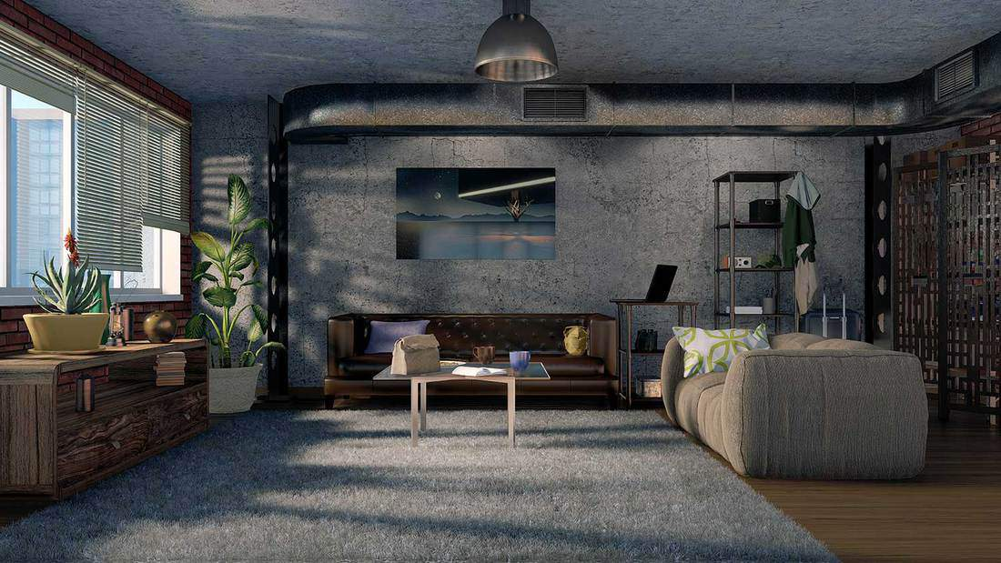 Urban industrial style living room interior with sofas, concrete wall and metal ventilation