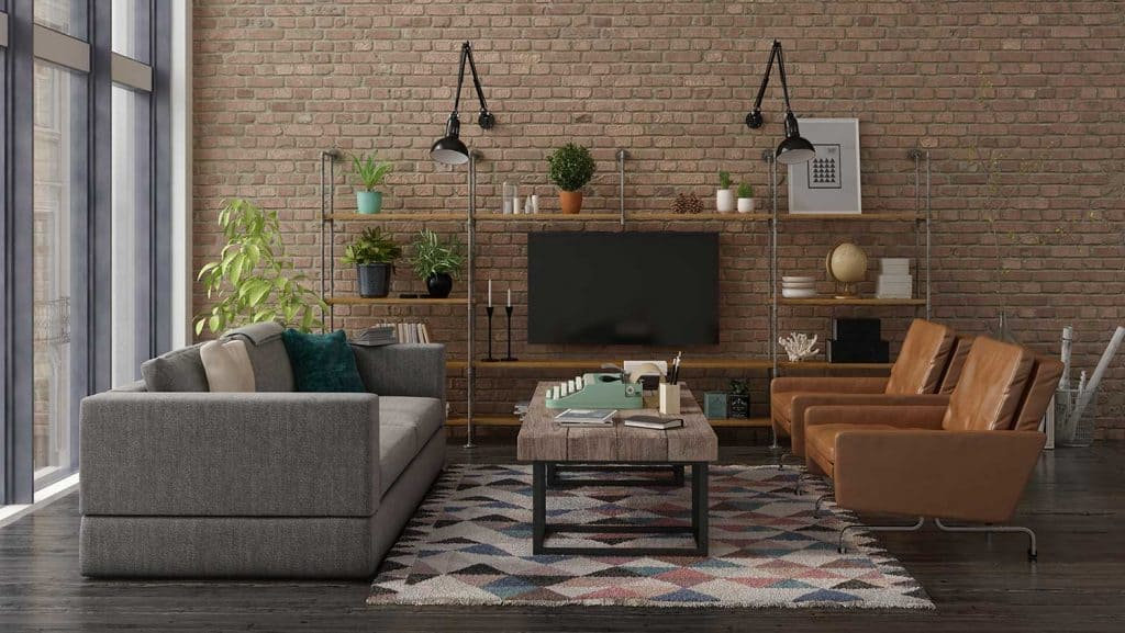 Urban loft industrial style interior living room