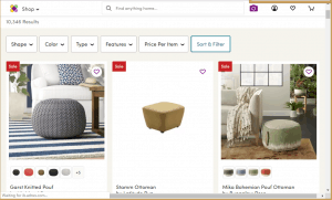 Poufs and Ottomans on wayfair's page.